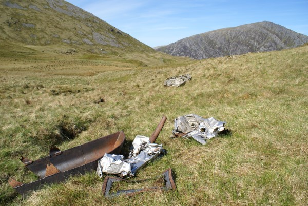 Crash site of B-26G 44-68072 on Y Garn, Snowdonia
