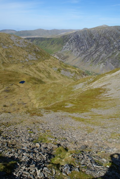 View down in to Cwm Cywion from Y Garn