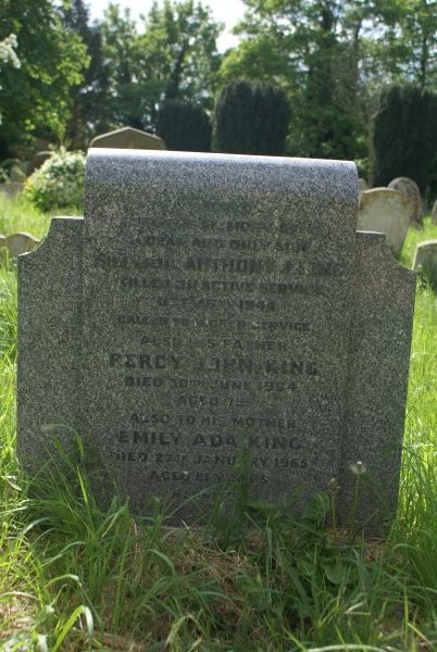 Sub Lieutenant Anthony John King's grave at Chesterton St Andrews church in Cambridge