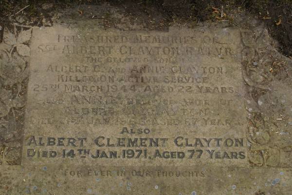 Grave of Albert Clayton at Dukinfield Cemetery, killed on Consolidated Catalina JX210 on Shetland