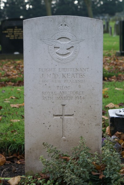 Grave of Flight Lieutenant John Henry Dennis Keates at Carlisle Dalston Road Cemetery, killed on Consolidated Catalina JX210 on Shetland