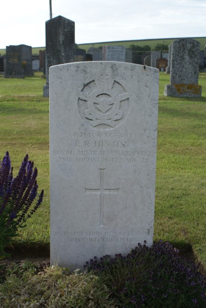 Grave of Sergeant Reginald Richard Hinton, Royal Australian Air Force  at Kirkinner Cemetery, Dumfries and Galloway