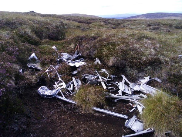 Wreckage at the crash site of Whitley Mk.V BD295 on Carn nan Tri-tighearnan near Nairn