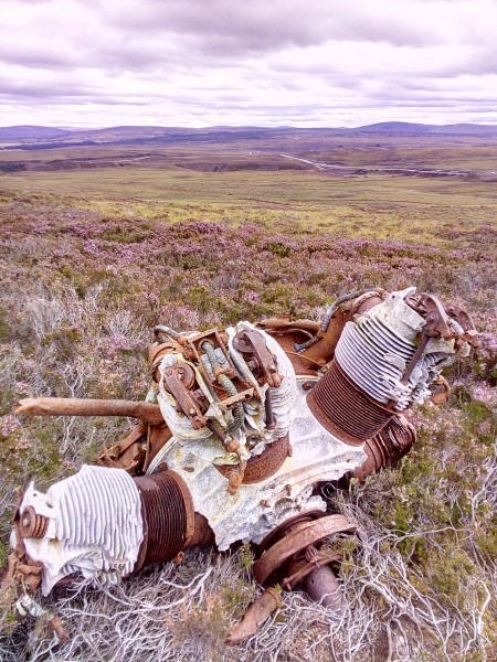 Armstrong Siddeley Cheetah engine at the crash site of Airspeed Oxford Mk.2 V3910 on Maol an Taillier, Nairn, Highland