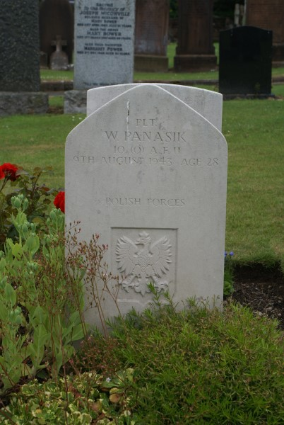 Grave of Sergeant Waclaw Panasik at Dumfries St Andrews Catholic Cemetery, killed aboard Avro Anson Mk.I DJ222 on Green Gable, Cumbria