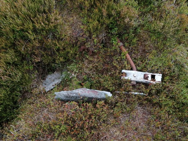 Wreckage at the crash site of Gloster Meteor F. Mk.4 VZ418 on Burn Moor, North Yorkshire
