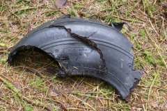 Remains of a tyre at the crash site of SEPECAT Jaguar XX732 on Stock Hill, Hawick