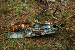 Wreckage at the crash site of SEPECAT Jaguar XX732 on Stock Hill, Hawick