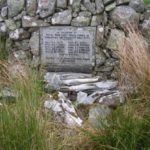 Memorial and wreckage close to the crash site of Boeing KB-29P 44-83950 at Carsphairn, Dumfries & Galloway