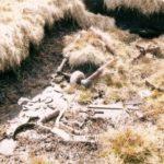 Aircraft wreckage at the crash site of Avro Anson EF909 on Foel Grach, the Carneddau, Snowdonia