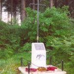 Memorial at the crash site of Fairey Battle Mk.I L5499 in woodland at Calverton, Nottinghamshire