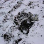 Wreckage at the crash site of Hawker Sea Hawk WV845 on Creag an Lochain Deirg near Brora