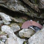 Wreckage at the crash site of Supermarine Spitfire X4843 on Yr Aran near Beddgelert