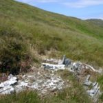 Wreckage at the crash site of Consolidated Catalina AH533 on the slopes of Cruach na Seilcheig, Jura
