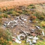 Wreckage at the crash site of Vickers Wellington Mk.IC DV810 on Broomhead Moor near Langsett, South Yorkshire