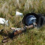 Undercarriage at the crash site of de Havilland Mosquito DZ642 on Royl Field, Clift Hills, Shetland