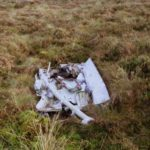 Wreckage at the crash site of Daktoa G-AMVC on Croglin Fell, Penrith, Cumbria