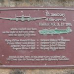 Plaque commemorating the crew of Halifax JP190 at Craik, near Hawick, Scottish Borders