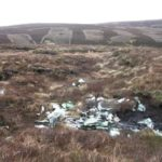 Wreckage at the crash site of Bristol Blenheim L1252 on Staple Moss, Hargill Beck, Teesdale