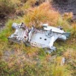 Wreckage at the crash site of Supermarine Seafire Sp325 and SX314 on Tagsclough Hill, Wildboarclough, Cheshire