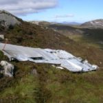 Port wing at the crash site of Fairey Firefly WB336 on Beinn Uraraidh, Isle of Islay