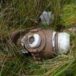 Wreckage at the crash site of de Havilland Mosquito HX862 on Drum, Conwy